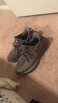 pair of gray Adidas Yeezy Boost 350