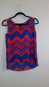 red and blue chevron print sleeveless blouse Fort Worth, 76116