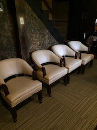 4 cream colored leather chairs Jefferson City, 65109