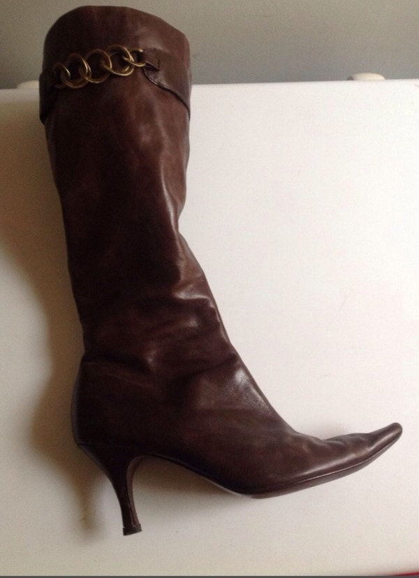women's brown leather stiletto boots