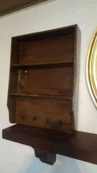 brown wooden 3-layer shelf with hooks Apopka