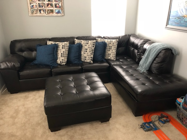 Used Ashley Furniture Dark chocolate leather sectional sofa with ...