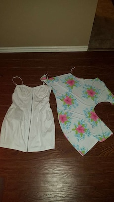 white spaghetti strap dress and white, green, blue and pink floral top