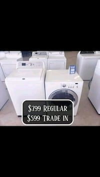 white front-load clothes washer and dryer set 285 mi