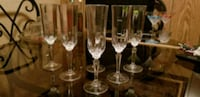 four clear glass wine glasses 69 km