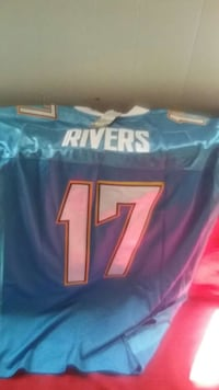 blue and white Rivers 17 print sports jersey Crestline, 92325