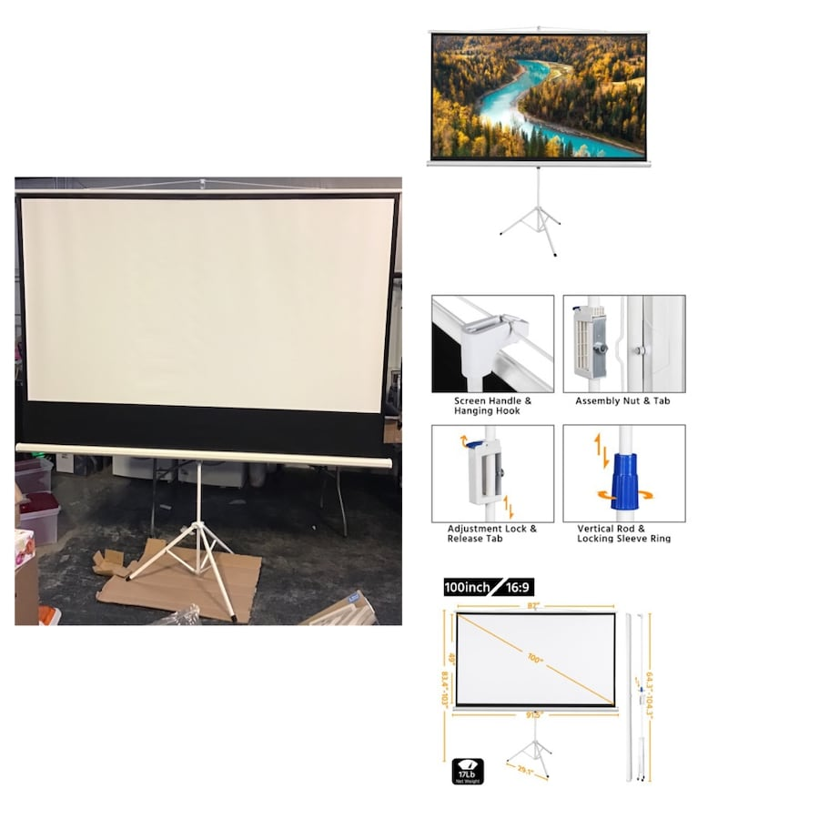 Yaheetech Portable 100 inch Projector Screen with Tripod Stand