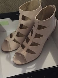 pair of white leather open-toe wedges Kodak, 37764