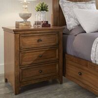 Three Posts Oak Woodside 3 Drawer Nightstand with USB Port.