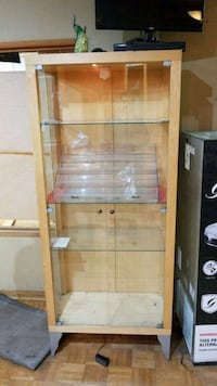 brown wooden framed glass display cabinet Toronto, M5H 1B6