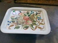 white and green floral ceramic plate Barnhart, 63012