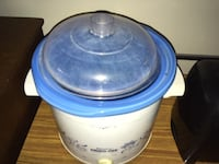 white and blue plastic container null