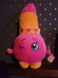 pink and yellow Shopkins plush toy