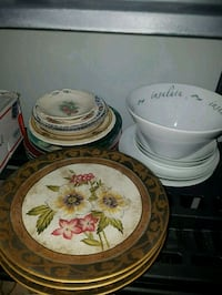 white and pink floral ceramic dinnerware set St. Albert, T8N 1L1
