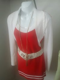 red and white scoop-neck top with blazer