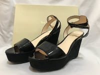 pair of black leather open-toe wedges FALLSCHURCH