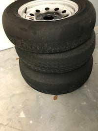 3 each trailer tires and wheels, matching wheels, tires need replacing