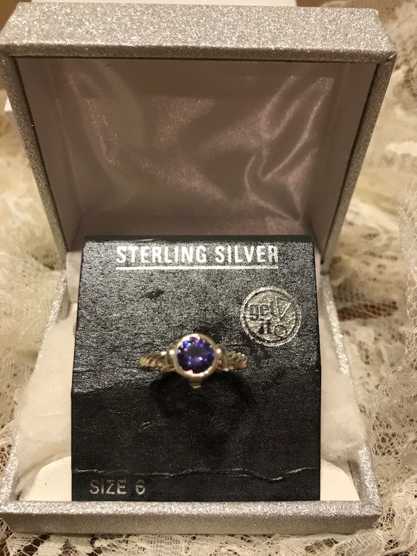 Beautiful Sterling Silver Ring with Purple Stone