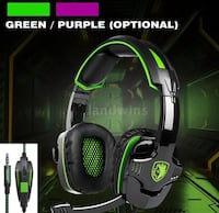 green and black Turtle Beach gaming headset