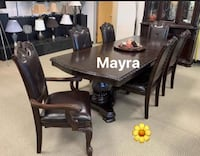Kiera Brown Formal Dining Set. Table and chairs