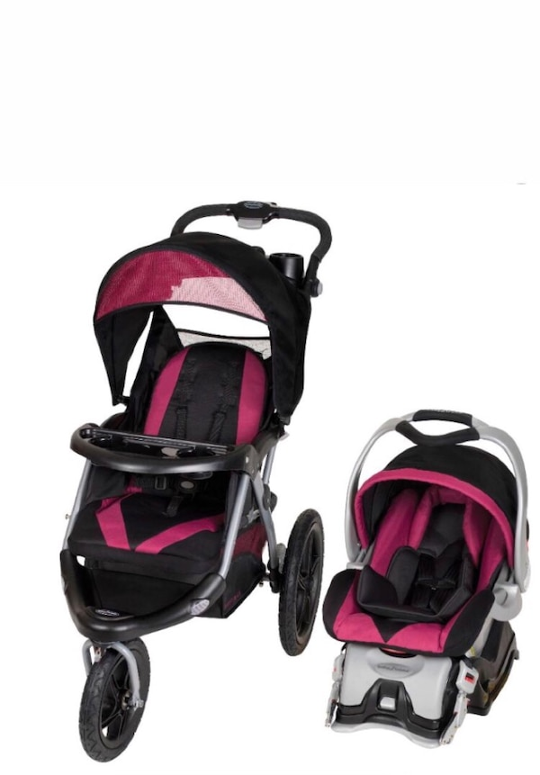 Baby's black and pink travel system 23538d72-6b95-47b9-9c73-7e78e52dd908