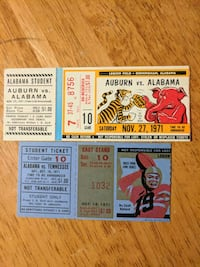 1971 Alabama Ticket Stubs - TN and Auburn - great