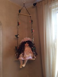 ADORABLE PORCELAIN DOLL ON A SWING TO HANG FROM YOUR CHILDS CEILING Piscataway Township, 08854
