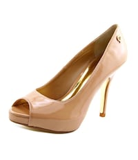 unpaired brown leather peep-toe platform stiletto Sterling, 20164