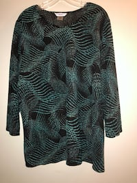 Beautiful festive top black/turquoise shimmery. Size 1X.  Edmonton