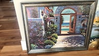 Blue wooden framed painting of house Oakville, L6K 1R7