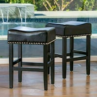 Black Leather Bar stools with copper trim(set of 2 Glendale, 91203