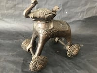 Antique BRONZE Cast India elephant pull toy. Toys wheels Ottawa, K0A