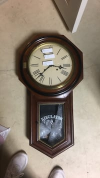 brown wooden regulator pendulum clock 27 km