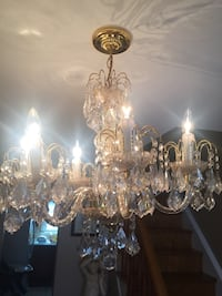 clear glass uplight chandelier with brass base Toronto, M6M 1G5