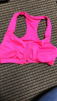 Large pink front zip sports bra