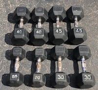 RUBBER DUMBBELLS : 20s. 30s. 40s. 45s (USED WITH WEAR) 892 mi