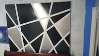 5ftx4ft black and silver geometric painting