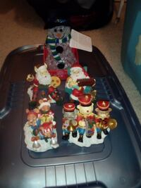 Lighted Snowman and 4 xmas ceramic figurines