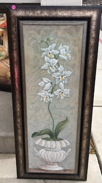 white potted flowers illustration with brown frame Reno, 89503