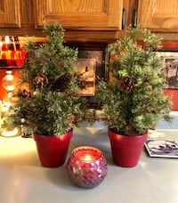 Pair Artificial Christmas Trees in Red Clay Pots and Mosiac Red Glass Candle 917 mi
