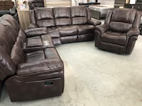 Monroe brown leather reclining sofa loveseat recliner chair 3 piece living room set comfy  Manor, 78653