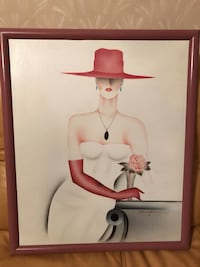 Mystery Woman in White Dress signed painting by artist 26x22 New York, 11235