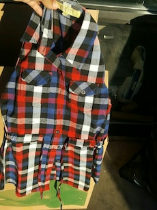 black, gray, red, and blue plaid vest