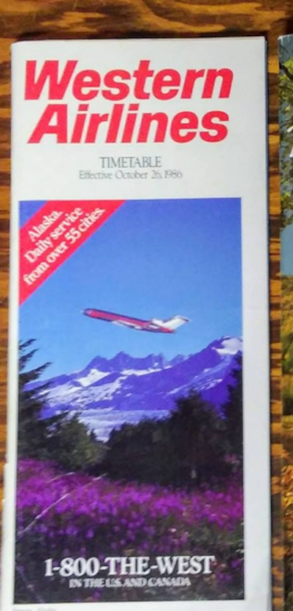 Western Airlines Timetable October 26 1986