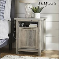 Modern Farmhouse Nightstand Accent Table Rustic Gray Antique Brass Baltimore, 21226
