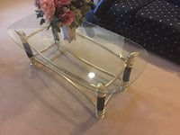 clear glass top coffee table, 2 side tables, console table