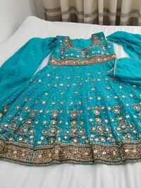 blue brown floral long sleeve dress Norsborg, 145 58