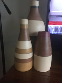 Three West Elm brown-and-white ceramic vases King Of Prussia, 19406