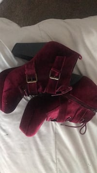 Pair of red suede booties size 10 Fresno, 93721
