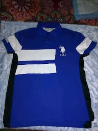blue, white, and black US Polo Assn. polo shirt Englewood, 07631